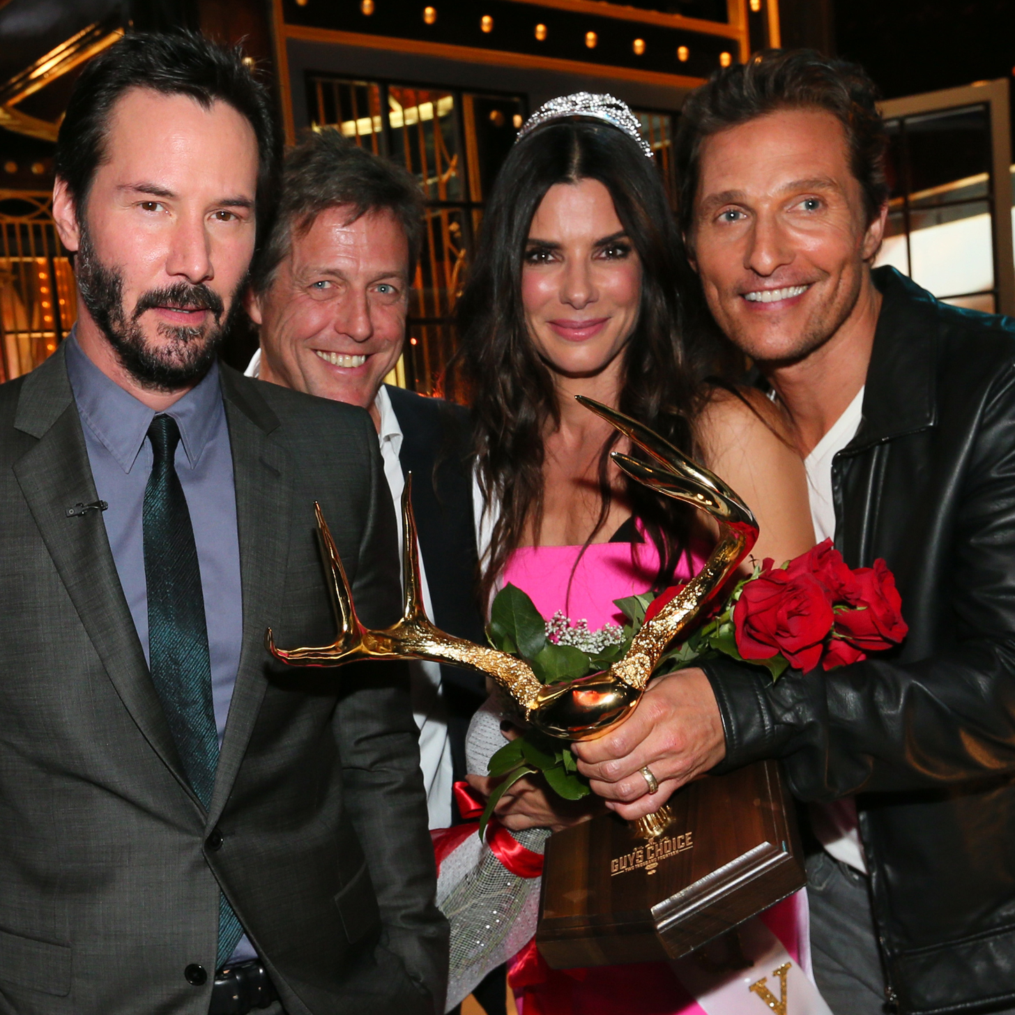 Matthew McConaughey Keanu Reeves Hugh Grant Sandra Bullock Guys Choice Awards 2014